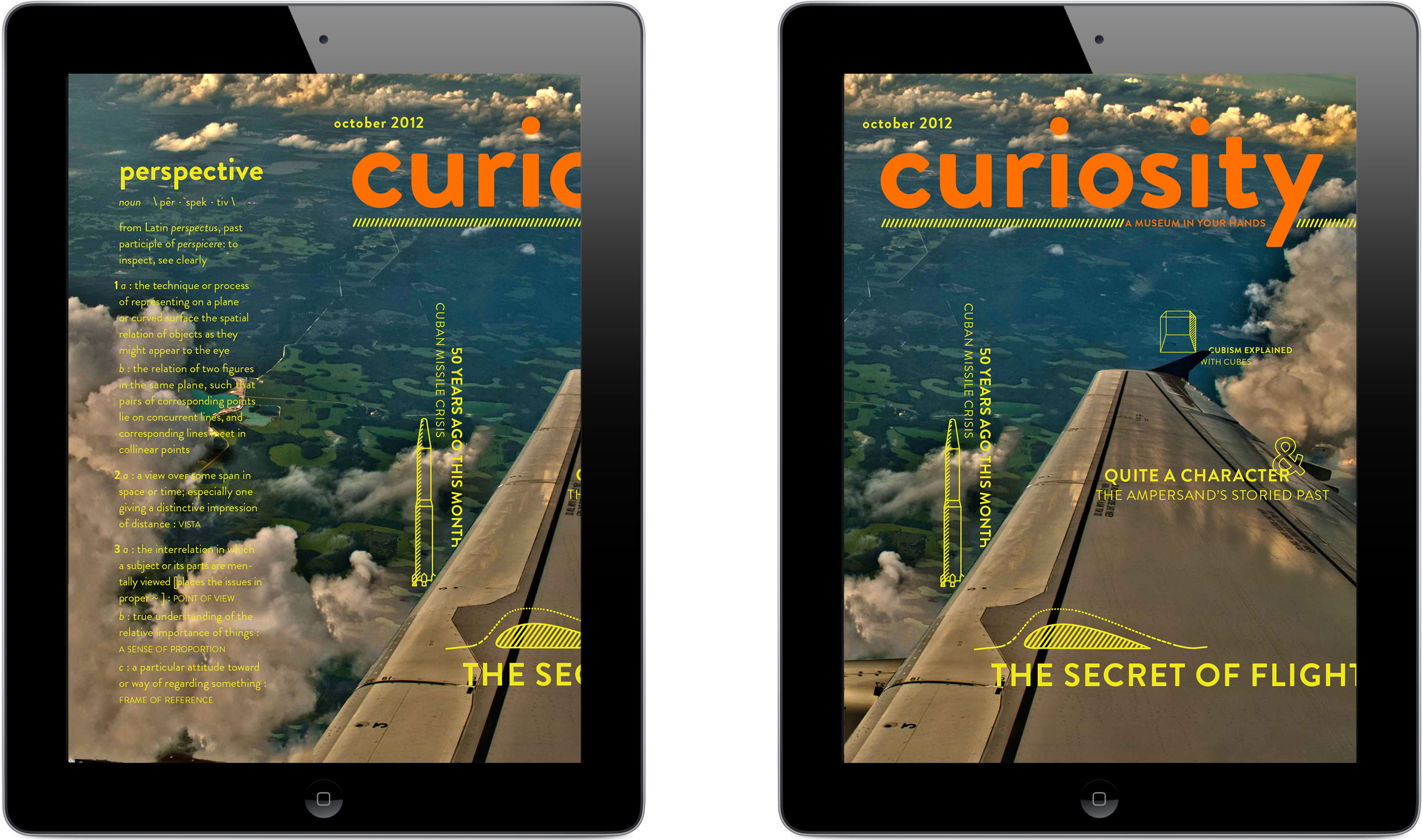 """The iPad version of Curiosity can scroll a little to the left to reveal the theme """"perspective""""'s definition."""