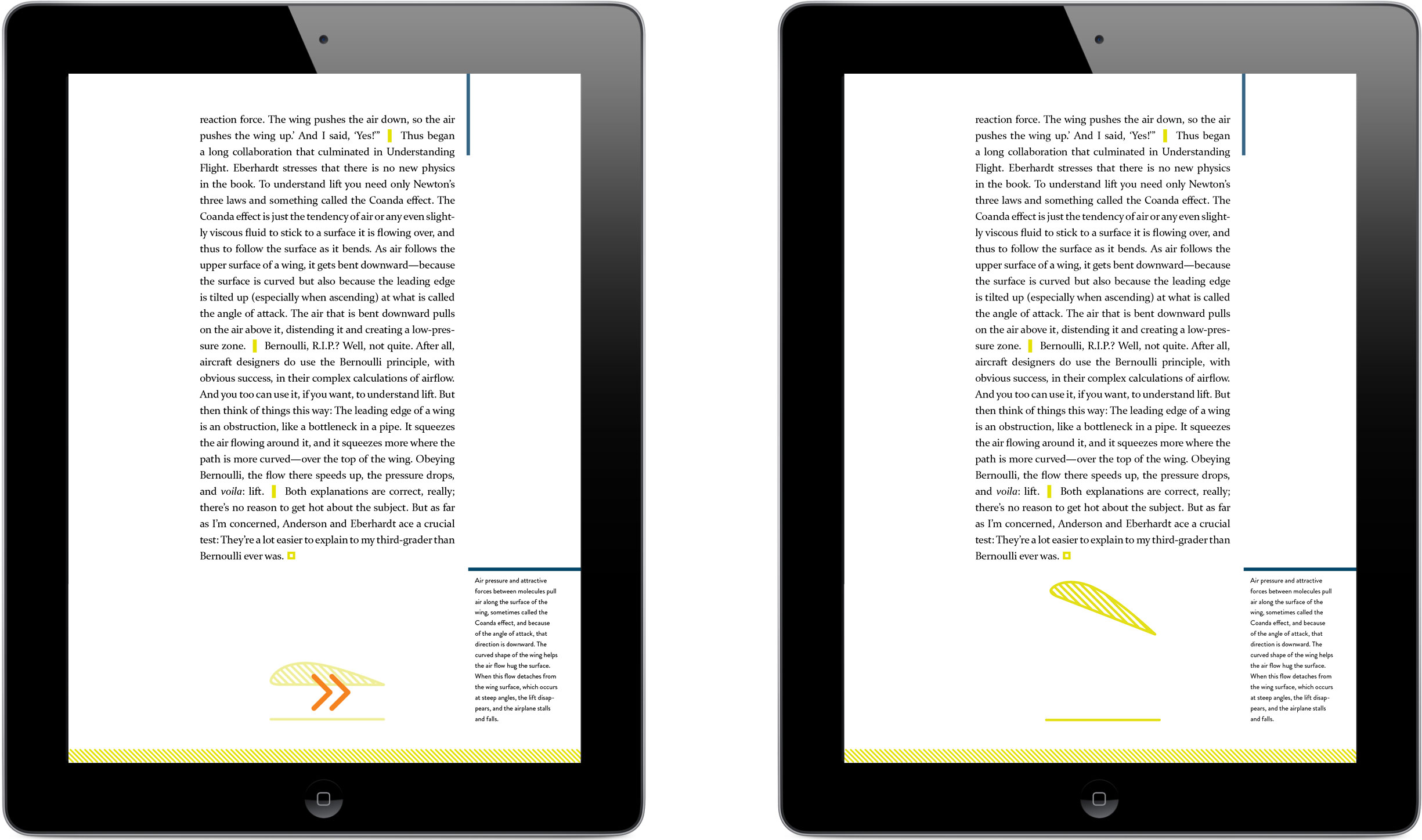 Two still screens side-by-side demonstrate the behavior of an animating wing illustration when swiped: it lifts and then lowers.