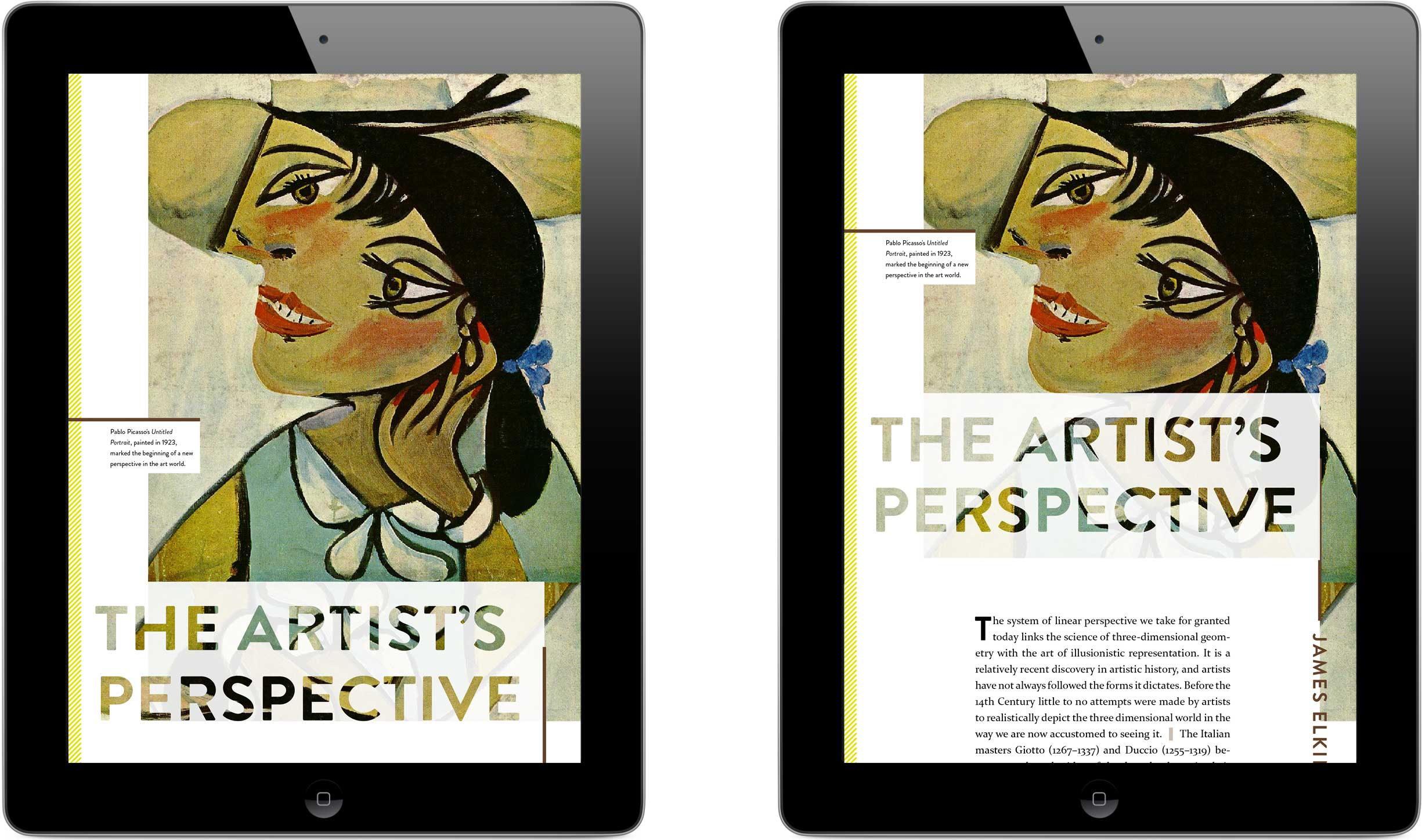 The cover slides right to reveal a paragraph introducing the theme of perspective.