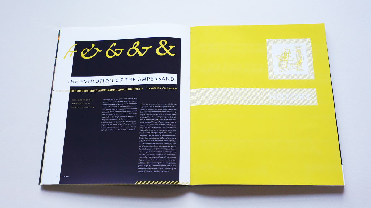 """""""The evolution of the ampersand"""" serves as the language section's sidebar, while the opposing page introduces the history section."""