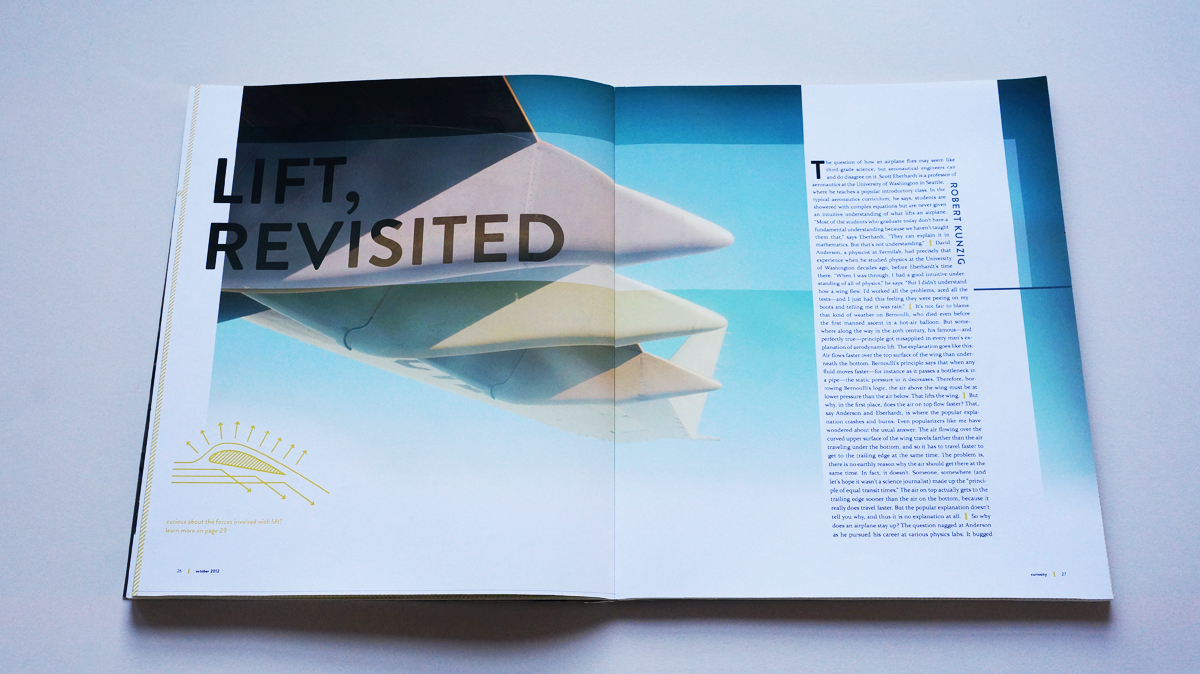 """A full-bleed photo shot from the underside of a jetliner in flight fills the first spread of """"Lift, revisited""""."""