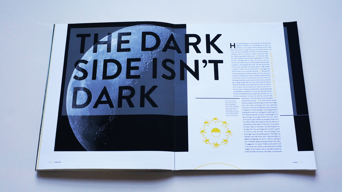 """A large and looming photo of Luna greets readers of """"The dark side isn't dark""""."""