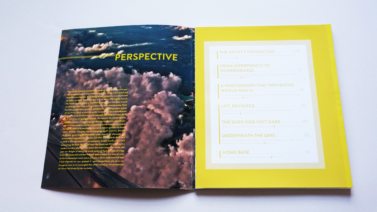 The inside cover holds a paragraph introducing the theme of perspective, while the first page contains the table of contents with a wide yellow border.