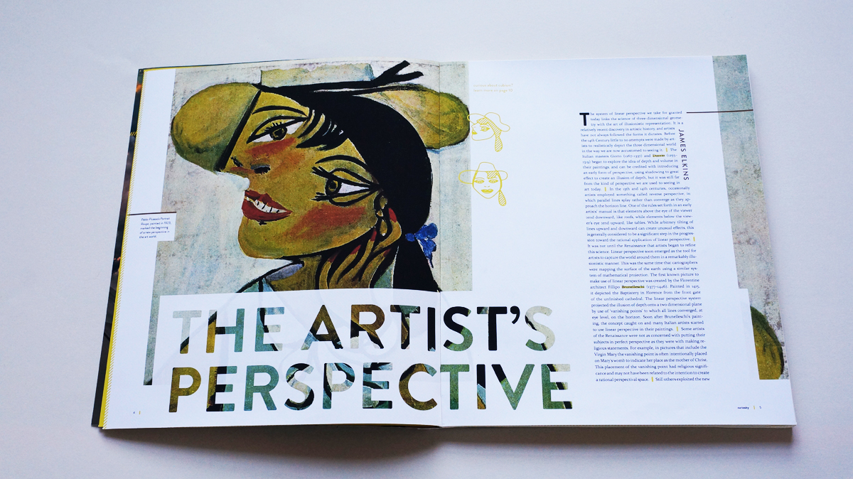 """""""The Artist's Perspective"""", an article in the art section, includes a full-bleed cubist portrais by Picasso"""