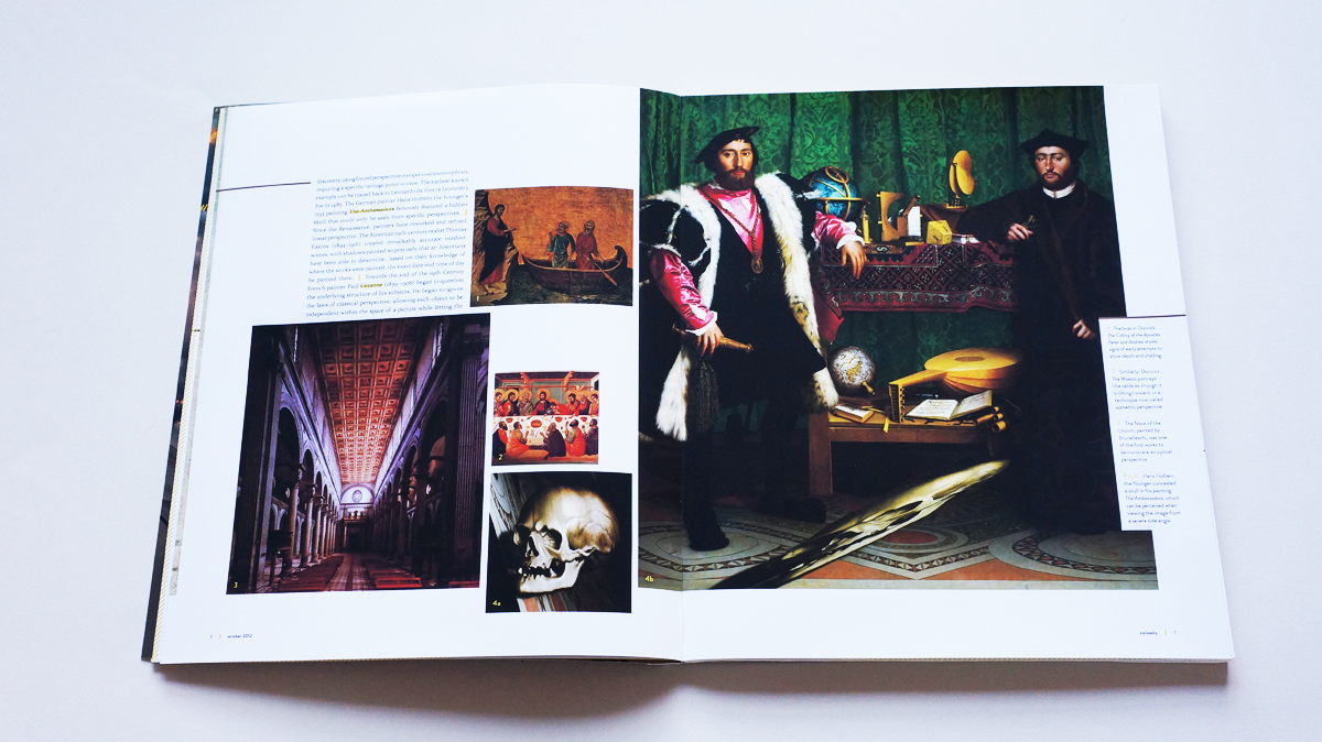A spread dedicated primarily to images of various artist's interpretation of perspective over the years is dominated by a full-page image of a painting with a hidden scull, only visible if viewed at a severe side-angle.