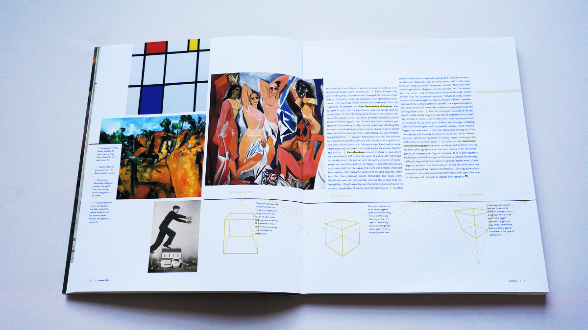 Modern artists' interpretations of perspective are shown on this spread, along with diagrams illustrating 1-, 2-, and 3-point perspective.