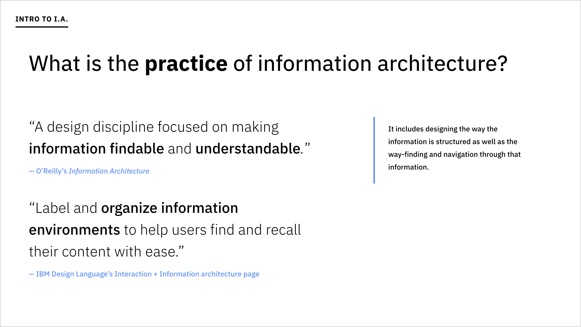 A slide asking what the practice of IA is.