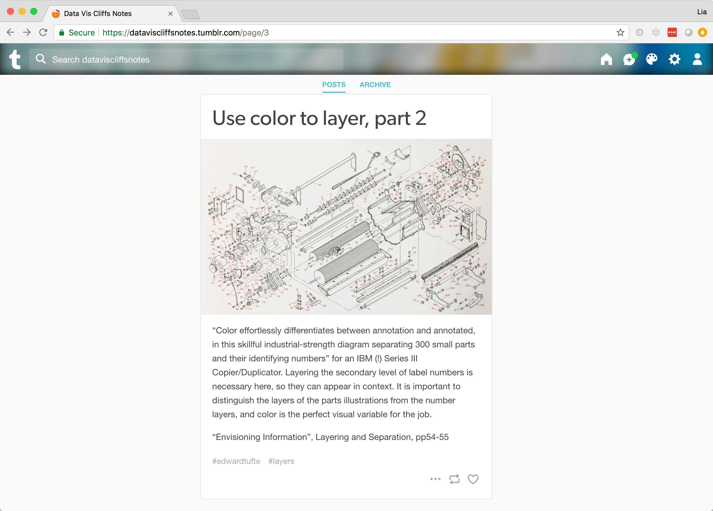 An example post about using color to layer labels onto diagrams.