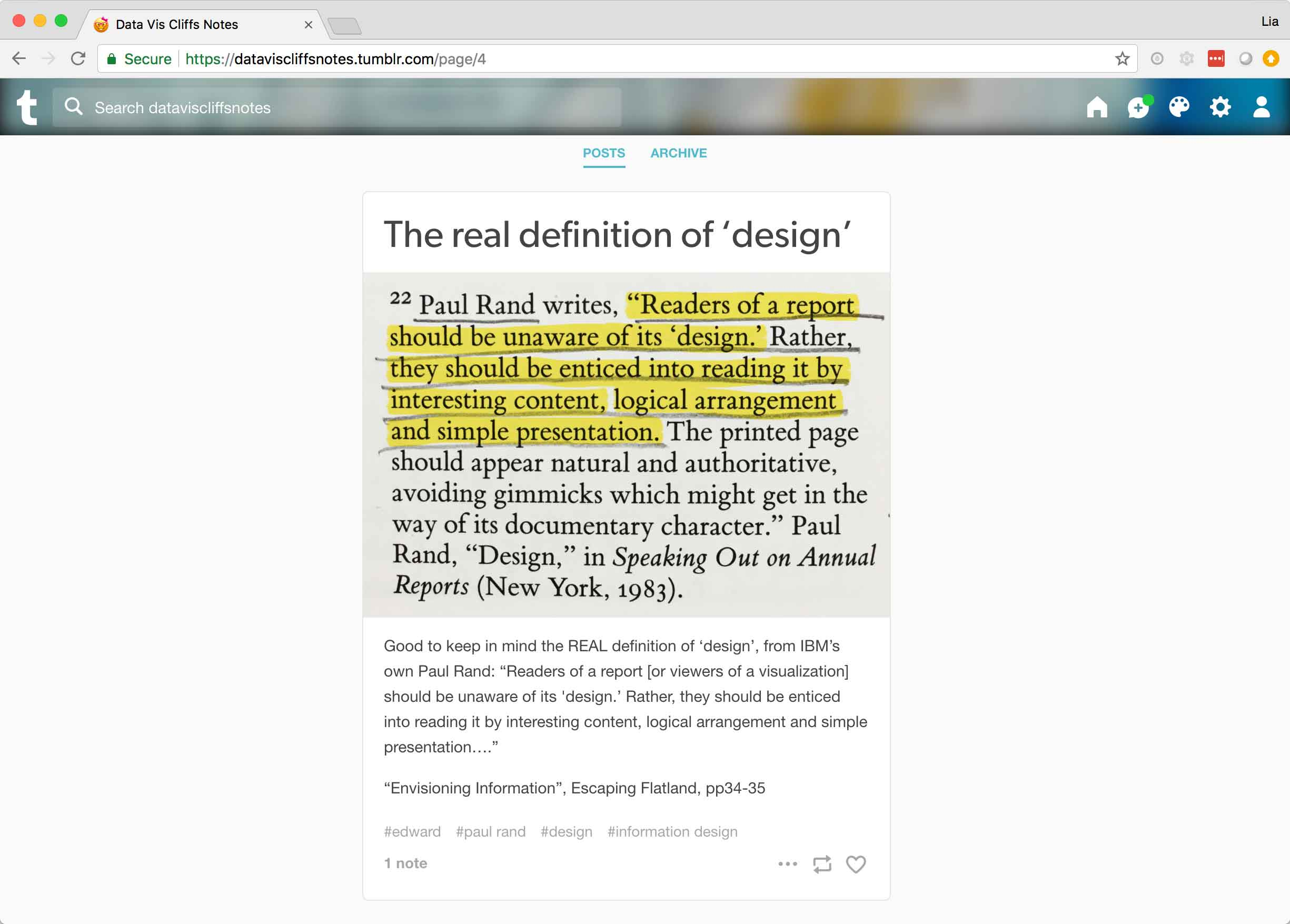 An example post about the real definition of design according to Paul Rand.