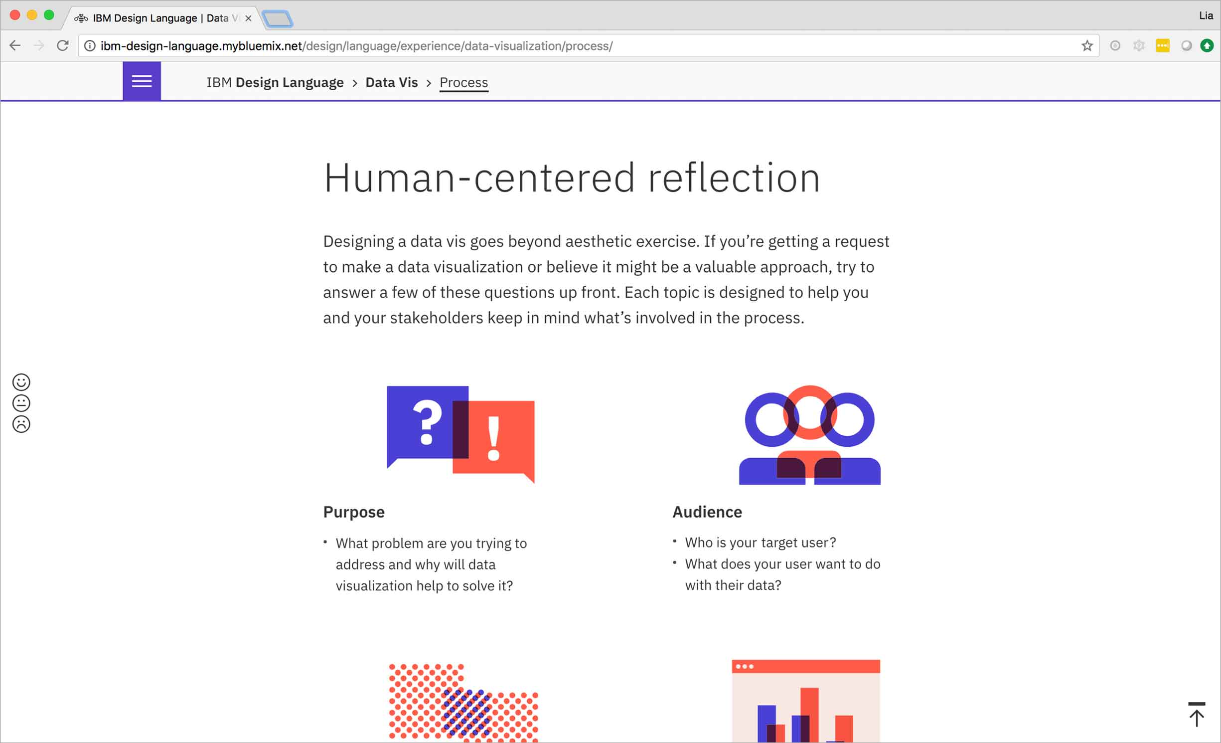The principles section of the IBM Data Vis Design Language focuses on human-centered reflection.
