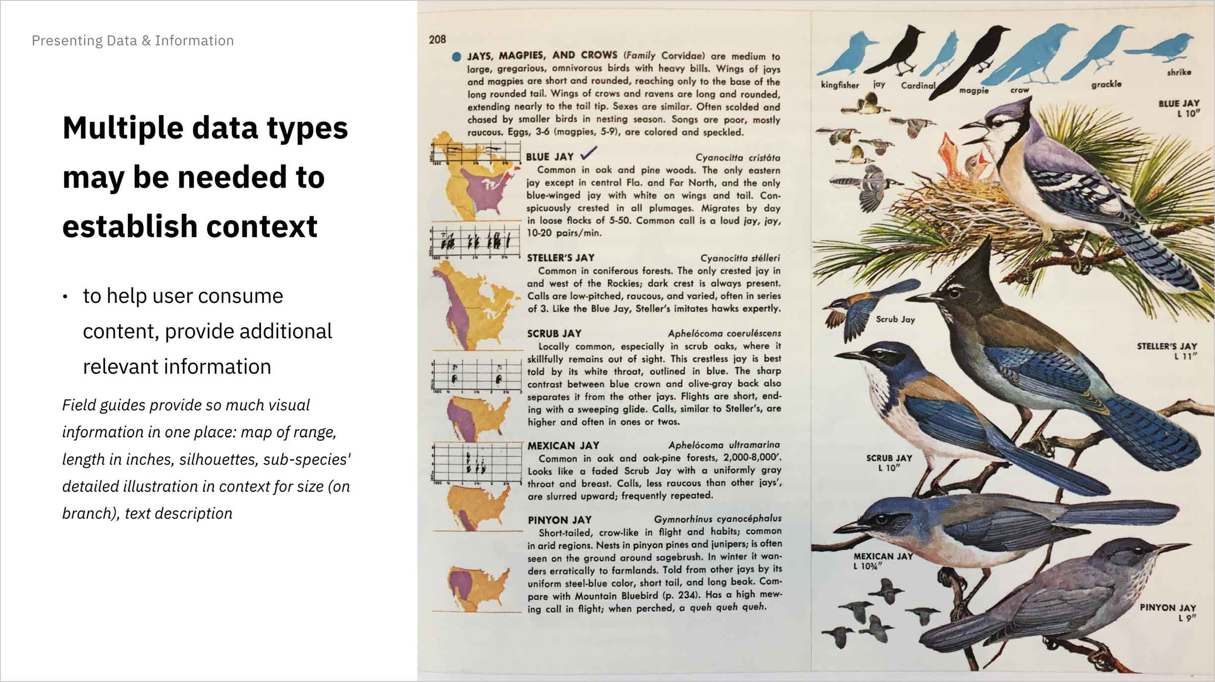 Multiple data types may be needed to establish context: field guides illustrate birds in detail, show them as silhouettes, provide a map of their ranges, and even have written musical charts describing their songs!